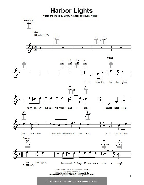 Harbor Lights (The Platters): para ukulele by Hugh Williams, Jimmy Kennedy