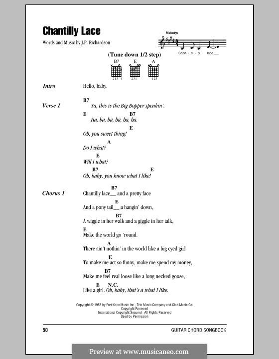 Chantilly Lace (The Big Bopper): Letras e Acordes by J.P. Richardson