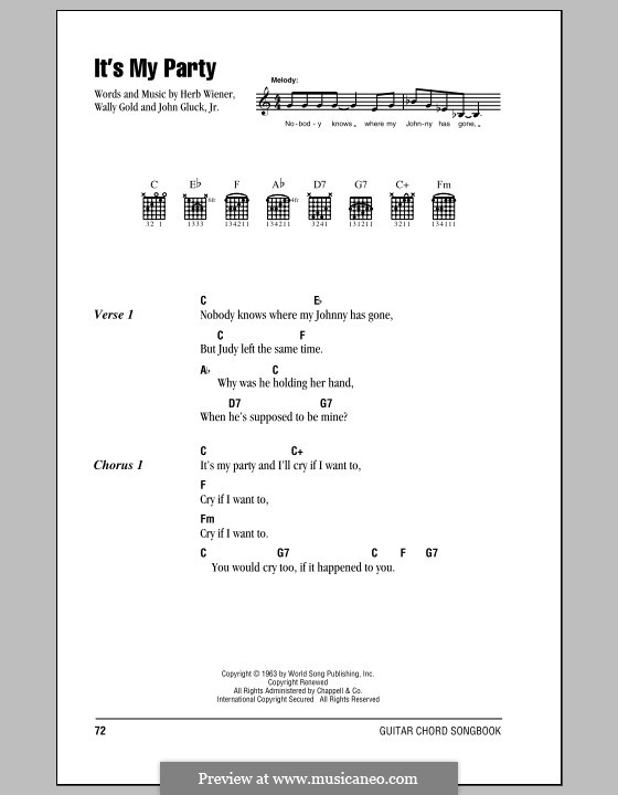 It's My Party (Lesley Gore): Letras e Acordes by Herb Weiner, John Gluck Jr., Wally Gold