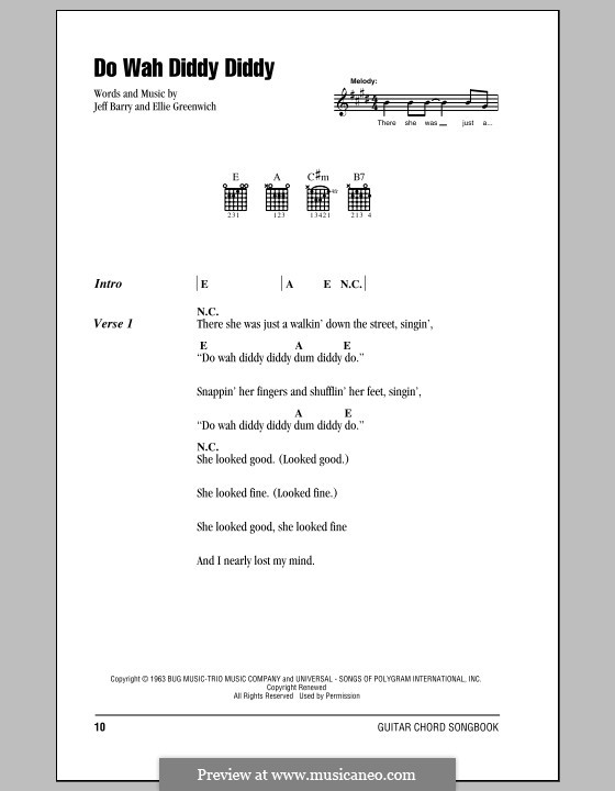 Do Wah Diddy Diddy (Manfred Mann): Letras e Acordes by Ellie Greenwich, Jeff Barry