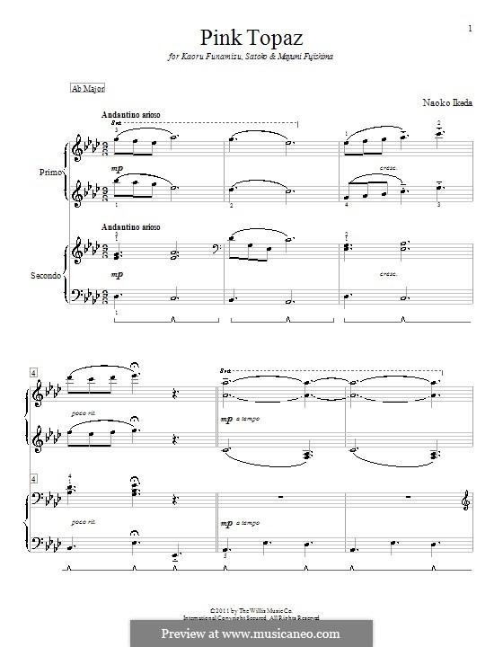Pink Topaz: para piano de quadro mãos by Naoko Ikeda
