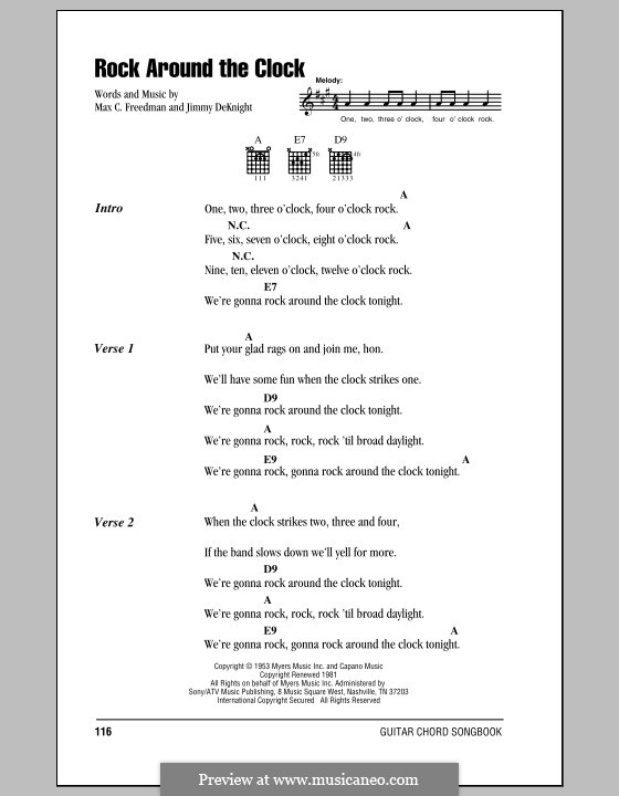 Rock Around the Clock (Bill Haley and His Comets): Letras e Acordes by Jimmy DeKnight, Max C. Freedman