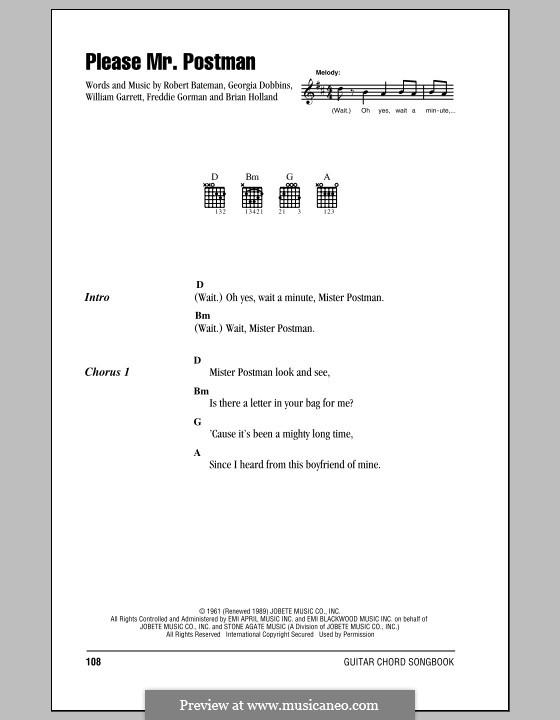 Please Mr. Postman: Lyrics and chords (The Beatles) by Brian Holland, Freddie Gorman, Georgia Dobbins, Robert Bateman, William Garrett