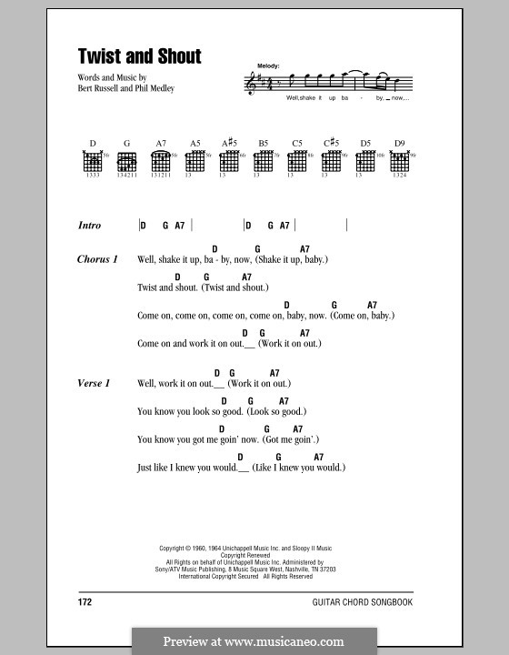 Twist and Shout (The Beatles): Letras e Acordes by Bert Russell, Phil Medley