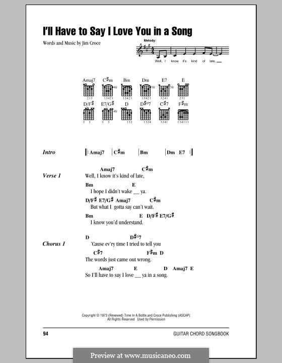 I'll Have to Say I Love You in a Song: Letras e Acordes by Jim Croce