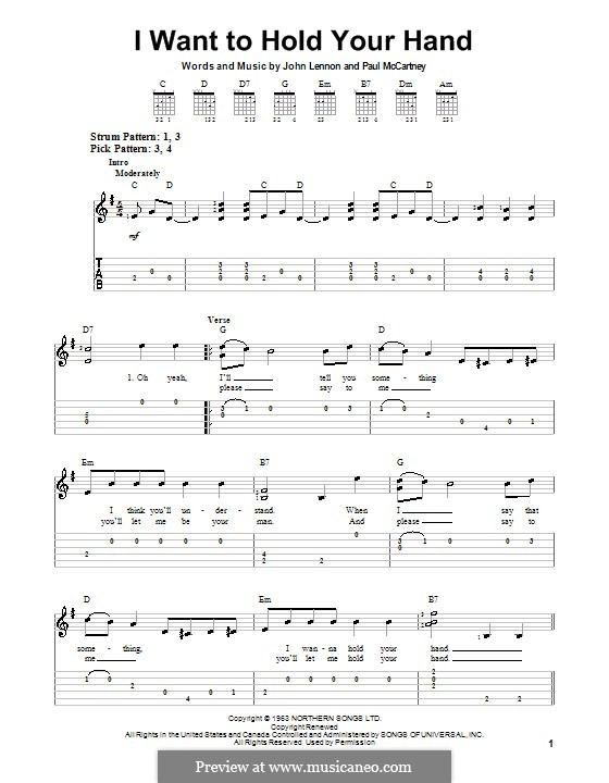 I Want to Hold Your Hand (The Beatles): facil para guitarra by John Lennon, Paul McCartney
