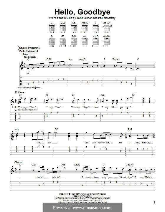 Hello, Goodbye (The Beatles): Para guitarra (versão facil) by John Lennon, Paul McCartney
