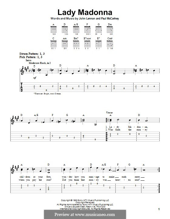 Lady Madonna (The Beatles): facil para guitarra by John Lennon, Paul McCartney