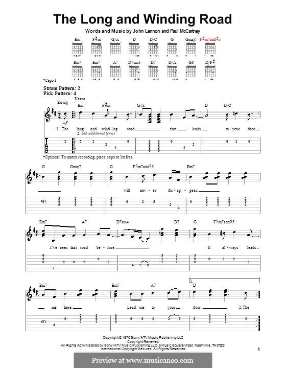 The Long and Winding Road (The Beatles): Para guitarra (versão facil) by John Lennon, Paul McCartney