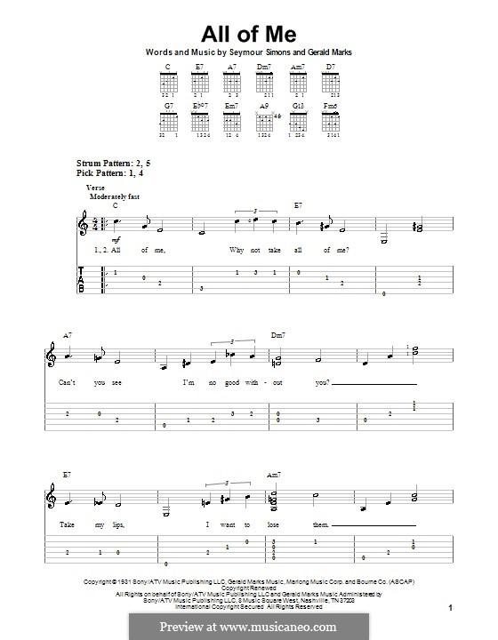 All of Me: Para guitarra (versão facil) by Seymour Simons, Gerald Marks