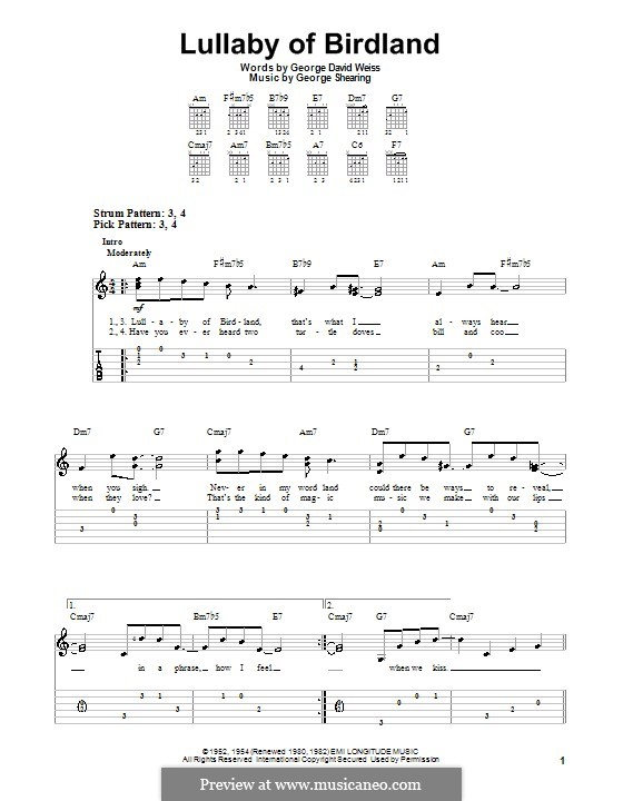 Lullaby of Birdland (Ella  Fitzgerald): Para guitarra (versão facil) by George Shearing