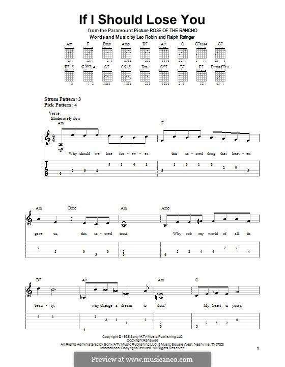 If I Should Lose You (Phineas Newborn): Para guitarra (versão facil) by Leo Robin, Ralph Rainger