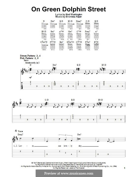 On Green Dolphin Street: Para guitarra (versão facil) by Bronislau Kaper