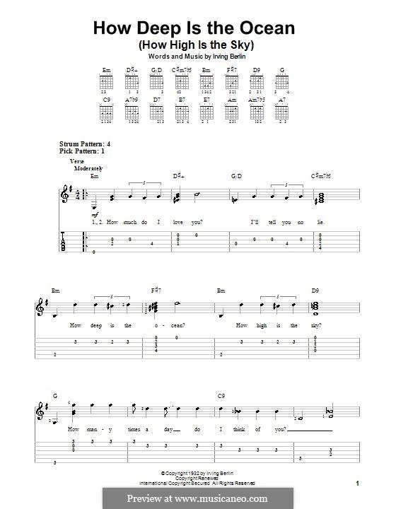 How Deep is the Ocean (How High is the Sky): Para guitarra (versão facil) by Irving Berlin