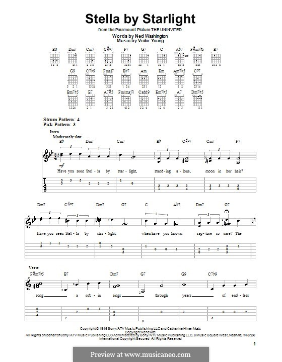 Stella By Starlight: Para guitarra (versão facil) by Victor Young