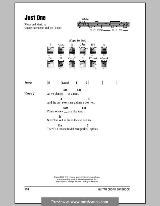 Just One: Letras e Acordes by Connie Harrington, Jim Cooper