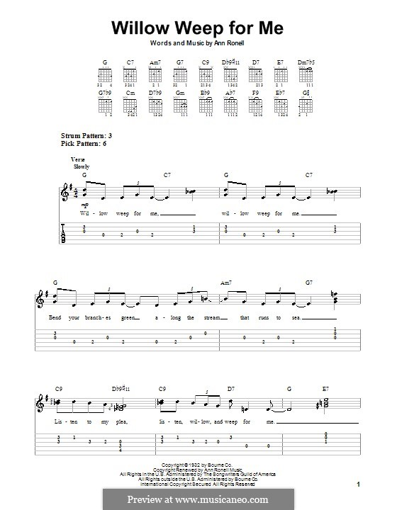 Willow Weep for Me (Chad & Jeremy): Para guitarra (versão facil) by Ann Ronell