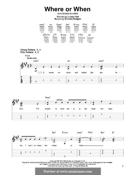 Where or When: facil para guitarra (com guia) by Richard Rodgers