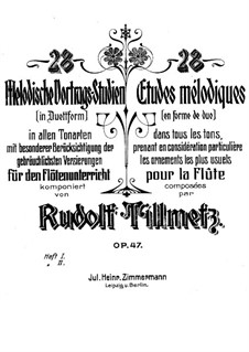 Twenty-Eight Melodic Etudes for Two Flutes, Op.47: livro I by Rudolf Tillmetz