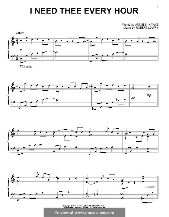 I Need Thee Every Hour: Para Piano by Robert Lowry