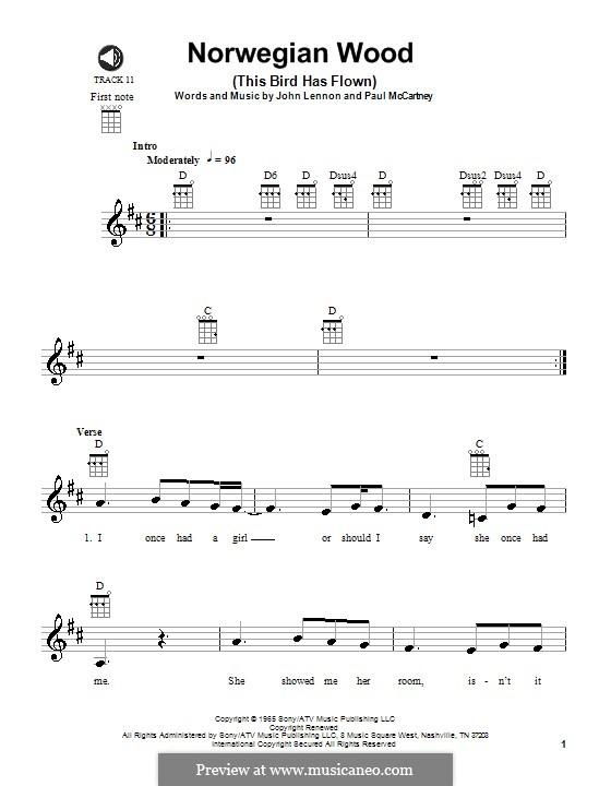 Norwegian Wood (This Bird Has Flown): para ukulele by John Lennon, Paul McCartney