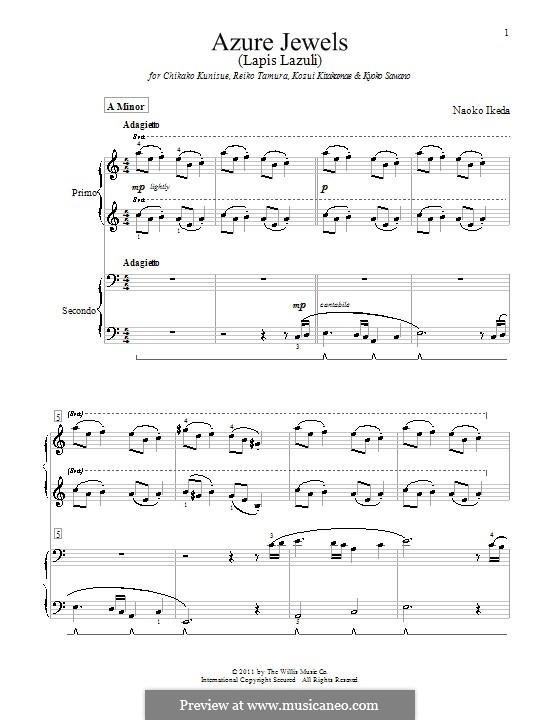 Azure Jewels: para piano de quadro mãos by Naoko Ikeda