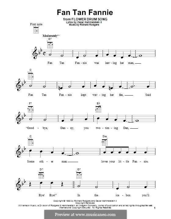Fan Tan Fannie (from Flower Drum Song): para ukulele by Richard Rodgers