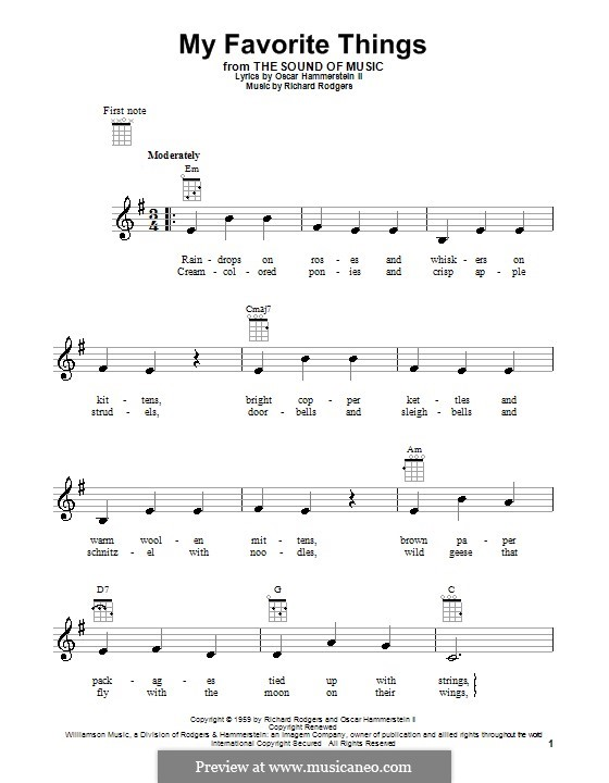My Favorite Things (from The Sound of Music): para ukulele by Richard Rodgers