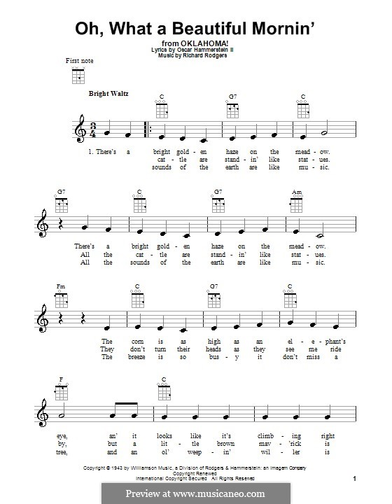 Oh, What a Beautiful Mornin' (from 'Oklahoma!'): para ukulele by Richard Rodgers