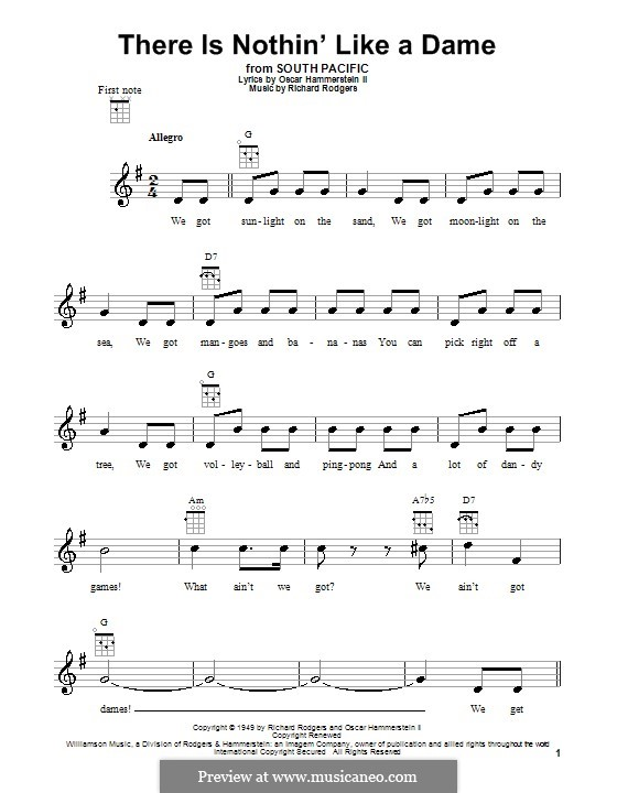 There is Nothin' Like a Dame (from South Pacific): para ukulele by Richard Rodgers