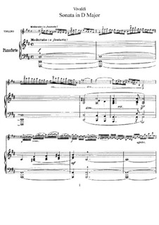 Sonata for Violin and Basso Continuo in D Major: partitura, parte solo by Antonio Vivaldi