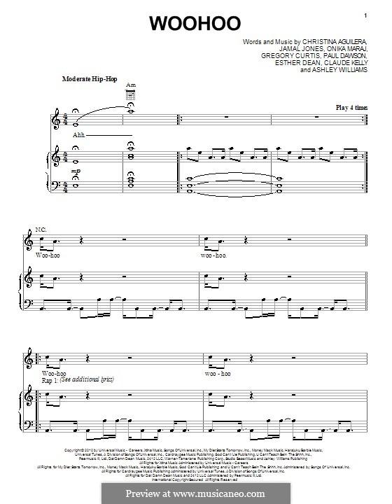 Woohoo (Christina Aguilera): Para vocais e piano (ou Guitarra) by Ashley Williams, Claude Kelly, Esther Dean, Gregory G. Curtis, Jamal Jones, Onika Maraj, Paul Dawson