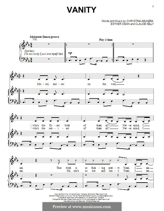 Vanity (Christina Aguilera): Para vocais e piano (ou Guitarra) by Claude Kelly, Esther Dean