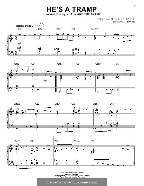He's a Tramp: Para Piano by Sonny Burke