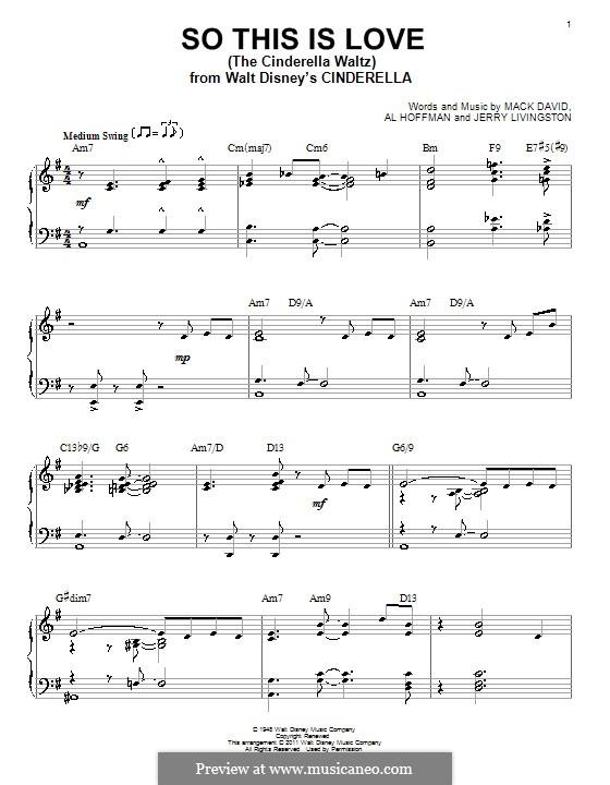 So This Is Love (The Cinderella Waltz): Para Piano by Al Hoffman, Jerry Livingston, Mack David
