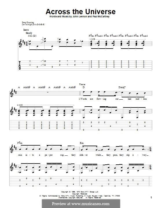 Across the Universe (The Beatles): para guitarra com guia e letras by John Lennon, Paul McCartney