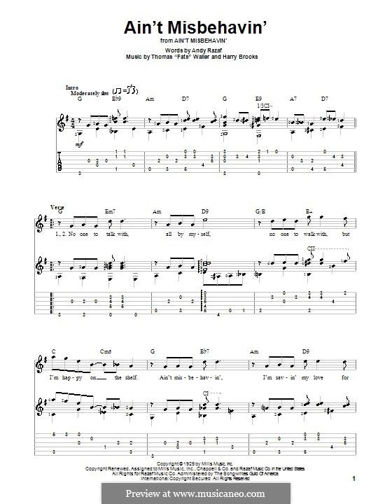 Ain't Misbehavin': Para guitarra com guia by Fats Waller, Harry Brooks
