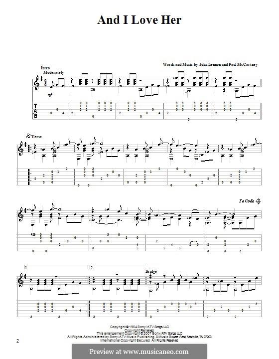 And I Love Her (The Beatles): Para Guitarra by John Lennon, Paul McCartney