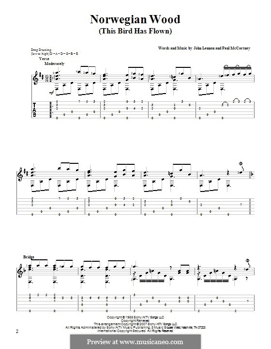 Norwegian Wood (This Bird Has Flown): Para Guitarra by John Lennon, Paul McCartney