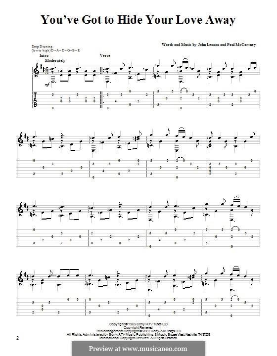 You've Got to Hide Your Love Away (The Beatles): Para Guitarra by John Lennon, Paul McCartney