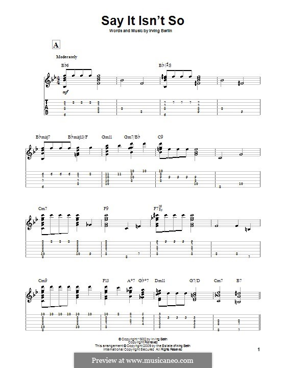 Say it isn't So: Para guitarra com guia by Irving Berlin