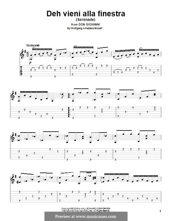 Deh vieni alla finestra: Para Guitarra by Wolfgang Amadeus Mozart