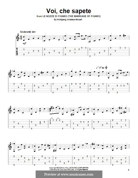 Voi, che sapete: versão para guitarra by Wolfgang Amadeus Mozart