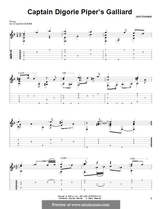 Captain Digorie Piper's Galliard: Para Guitarra by John Dowland