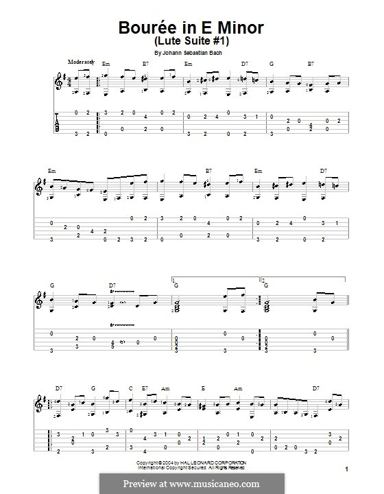 Suite for Lute (or Harpsichord) in E Minor, BWV 996: Bourrée. Version for guitar (with tab) by Johann Sebastian Bach