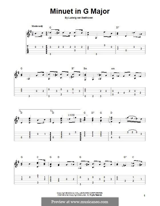 Minuet in G Major: versão para guitarra by Ludwig van Beethoven