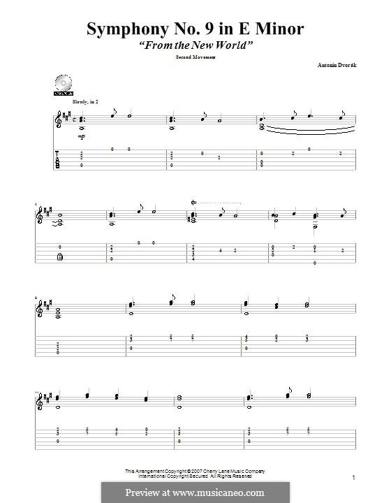 Movement II (Largo) Printable Scores: Excerpt, for guitar by Antonín Dvořák