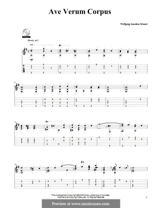 Ave verum corpus (Printabel Scores), K.618: Para Guitarra by Wolfgang Amadeus Mozart