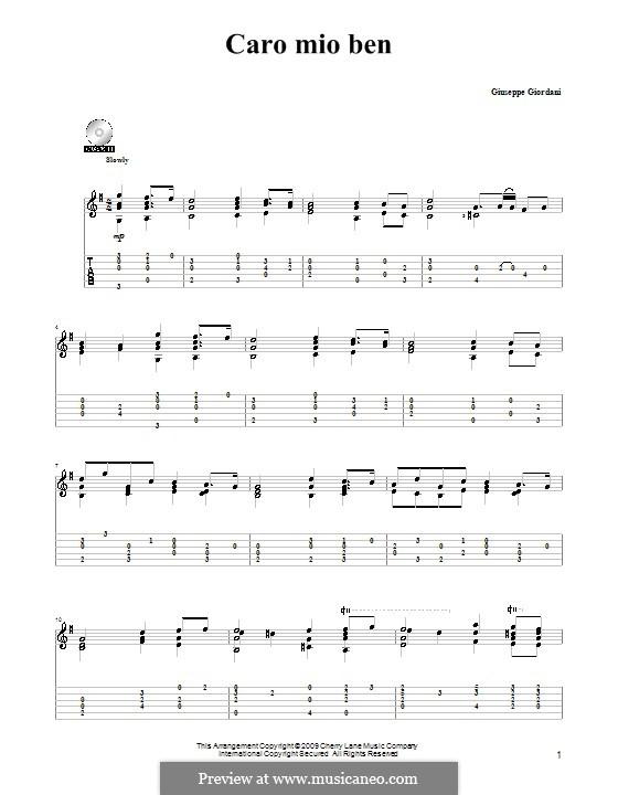 Caro mio ben (O Maiden Dear): Para Guitarra by Tommaso Giordani