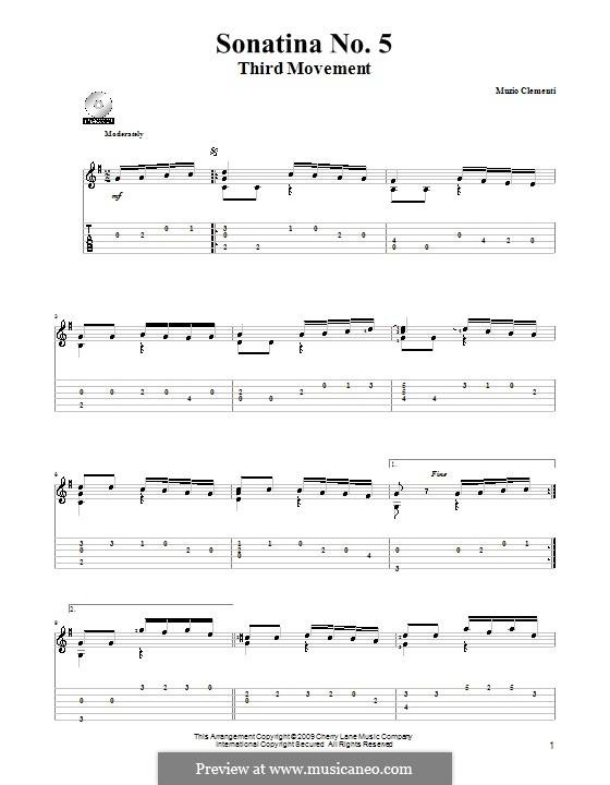 Sonatina No.5: Para Guitarra by Muzio Clementi